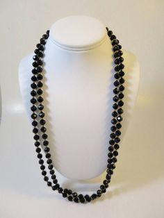 Vintage Black Bead Necklace Lucite Plastic Beads 58 inches