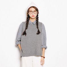 韩国东大门韩版圆领无袖女式针织衫 (深蓝色+灰色Sold Out)