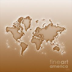 World Map Opala Square In Brown And White by elevencorners. World map wall print decor. #elevencorners #mapopala