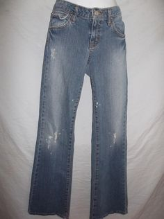 Hint Blue Jeans Worn In Destroyed Women's Jeans Flap Pockets Size Jr. 9 $19.00