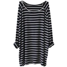 Sheinside Women's Navy White Striped Long Sleeve T-shirt (One Size,... ($18) ❤ liked on Polyvore