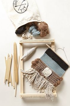 Learn to weave!  All Roads weaving loom kit.  Complete with frame loom, weaving tools, yarn and instructional booklet. Perfect for beginner weavers. Available exclusively at anthropologie.com