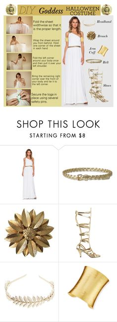 """DIY Halloween Costume"" by rmhodgdon ❤ liked on Polyvore featuring Rachel Zoe, Sarah Coventry, Wet Seal, Stephanie Kantis, Vintage, goddess, Costume, toga, GreekGoddess and diycostume"
