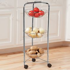 3-Tier Rolling Cart With Baskets - Zoom - Zoom
