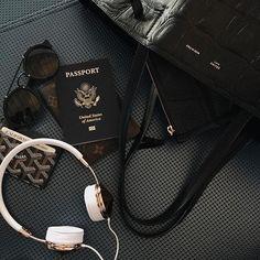 passport, bag, and black image