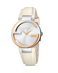Gucci Interlocking Silver Dial Leather Strap Ladies Watch BY Gucci Gucci Watches For Men, Cute Watches, Stylish Watches, Luxury Watches, Fashion Watches, Leather Watches, Gucci Jewelry, Jewelry Watches, Jewellery
