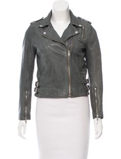 Grey-green Maje leather moto jacket with epaulets at shoulders, long sleeves, zip pocket at bust, buckle accents at waist and zip closure at front. Moto Jacket, Leather Jacket, Maje, Green And Grey, Long Sleeve, Jackets, Clothes, Women, Fashion