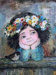 Art And Illustration, Portrait Art, Portraits, Naive Art, Angel Art, Painting For Kids, Fine Art Paper, Cute Art, Watercolor Art