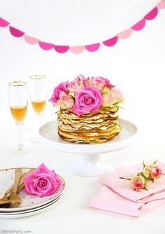 Crepe cake with Rosewater Cream Recipe - easy to make for Spring showers or a Mother's Day tea party or brunch! - BirdsParty.com