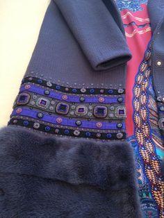 Купить Вязаное пальто с вышивкой и мехом. - сиреневый, орнамент, пальто из шерсти, пальто с мехом