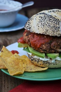 Homemade spicy bean burgers. These healthy burgers are tasty and super easy to make. They have no eggs, oil or dairy so they are a healthy low calorie and low fat option. Just be careful with your toppings if you're watching your weight. If not, go crazy with relish, vegan mayo, salad and avocado. Veggie and vegan.