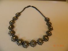 Victorian  Pot Metal Choker Rinestones On Sale by Ellealieu, $65.00