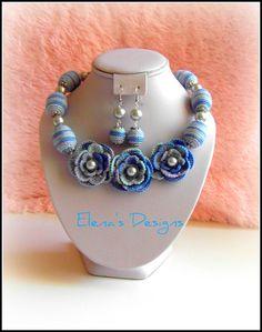 Oceano blu uncinetto collana orecchini di elenascrochetjewelry