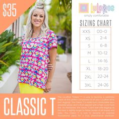 LuLaRoe Classic T - Sizing Chart with Price