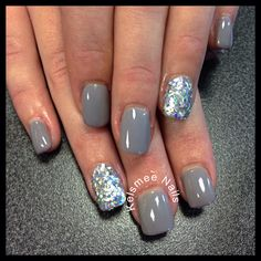 Young Nails acrylic with Maniq overlay And silver glitters