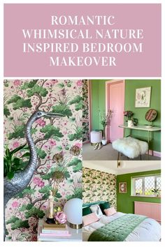 Romantic Whimsical Nature Inspired Bedroom Makeover - Part 2 The Reveal - The Interior Editor #bedroommakeover #masterbedroom #femininebedroom #prettybedroom #pinkandgreendecor #natureinspireddecor #interiordesign #englishcountrydecor #vintagedecor #englishcountryinteriors #bedroomdesign #bedroombeforeandafter #romanticbedroomdesign #bedroomdecor #vintagebedroom #englishcottagedecor #interiordecorr #homedecor #homedesign Romantic Bedroom Design, French Bedroom Decor, Rustic Bedroom Furniture, Feminine Bedroom, Bedroom Decor For Couples, Diy Home Decor Bedroom, Small Room Bedroom, Bedroom Vintage, Bedroom Colors