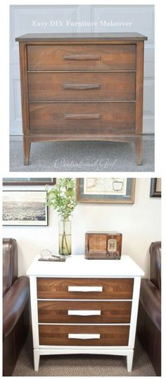 Top 60 Furniture Makeover DIY Projects - The next time you are shopping in your local thrift store and see that old chest of drawers, buy it. You can completely remake it into something that will look (Diy Furniture Repurpose) Cheap Furniture Makeover, Diy Furniture Renovation, Diy Furniture Easy, My Furniture, Refurbished Furniture, Repurposed Furniture, Furniture Design, Barbie Furniture, Rustic Furniture