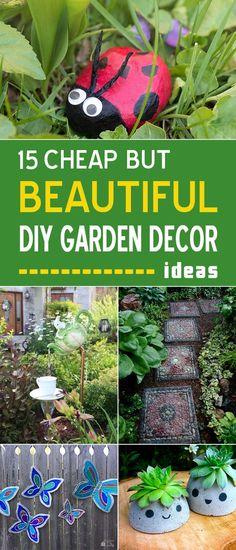 15 cheap but beautiful diy garden decor ideas → Diy Art Projects, Diy Garden Projects, Diy Garden Decor, Garden Crafts, Outdoor Projects, Garden Art, Garden Design, Garden Decorations, Diy Crafts