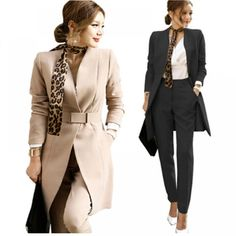 Women's Pants and Jacket Set Suit Casual Formal Work Wear Uniform Elegant for Office Business Autumn Tweed Suits, Pant Suits, Long Blazer, Suit Fashion, Fashion Usa, Straight Leg Pants, Suits For Women, Work Wear, Like4like
