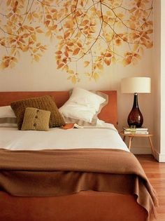 Minimalist Bedroom Decorating Ideas with Leaves Wall Mural