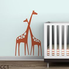 Nursery Wall Decal Mom and Baby Giraffe Baby Zoo $45