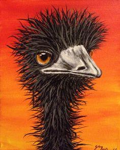 Emu from the outback 20 x 26  2013 Greg McDonald Artist  www.gregmacart.com