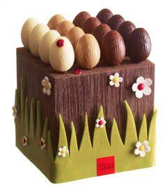 Arnaud Larher : Jardin printanier : ce mini jardin en chocolat se compose de 16 oeufs en chocolats noir, lait, caramel, blanc, praliné noisette, praliné gianduja. L'œuf noir est garni de praliné amande, l'œuf lait est garni de praliné à la noisette, l'œuf caramel est garni d'un praliné au gianduja, l'œuf blanc est garni d'un caramel à la fleur de sel. L'intérieur du cube-plantation est garni de fritures de Pâques. 86 € – Poids : 570 g