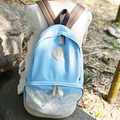 Fresh Sunmer Blue Canvas Lace Backpack