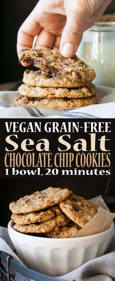 Vegan Grain Free Sea Salt Chocolate Chip Cookies. Can't wait to try these!