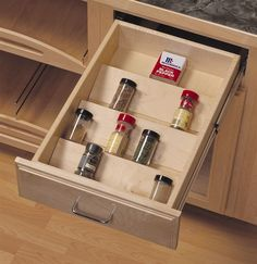 YES! So much better than jumbled in the cabinet or taking up counter space on the standing racks.  Home Storage and Organization Spice Rack w Wood Drawer Insert!