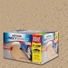 USE ON GARAGE FLOOR Rust-Oleum EpoxyShield 2-gal. Tan High-Gloss 2-Part Epoxy Garage Floor Coating Kit-251871 - The Home Depot