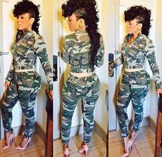 Camouflage Print 2-in-1 Zipper Pockets Long Sleeve Fashion Slim Long Jumpsuit
