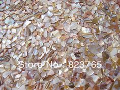 River Shell Mosaic iridescent color in Irregular Pattern on Mesh,backsplash, Chinese River Shell
