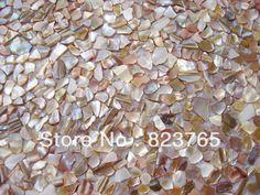 River Shell Mosaic iridescent color in Irregular Pattern on Mesh,backsplash, Chinese River Shell