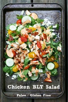 *do without tomatoes and use for protein day Paleo chicken BLT salad. Finally, a salad that really fills you up! Paleo Chicken Salad, Chicken Blt, Blt Salad, Tomato Salad, Cheap Diet, Healthy Protein Snacks, Healthy Salads, Clean Eating, Healthy Eating