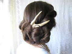 Deer Antler Hair Piece Fork Comb Stick Mori Girl Unusual Tribal Hair Accessory.