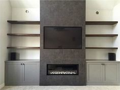 linear fireplace with old style mantel and built in shelves – – Yahoo Image Sear… – Fireplace tile ideas Rustic Fireplace Decor, Fireplace Tv Wall, Linear Fireplace, Basement Fireplace, Fireplace Built Ins, Rustic Fireplaces, Fireplace Remodel, Modern Fireplace, Living Room With Fireplace