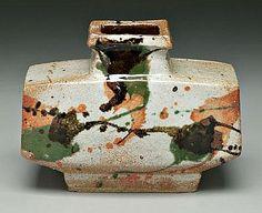 Kawai, Kanjiro stoneware footed vase, Japanese,
