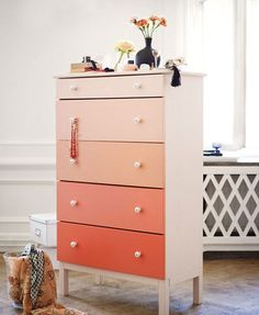 paint chip painted dresser pinterest | ombre chest of drawers furniture diy paint restore project idea
