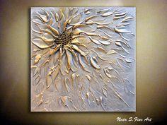 Original Abstract Metallic Flower Painting.Palette di NataSgallery