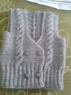 Boys' vest with gray walking stick - Baby Boy Vests - Crochet Clothing and Accessories Baby Knitting Patterns, Baby Boy Knitting, Knitting For Kids, Lace Knitting, Knitting Designs, Baby Boy Vest, Kids Vest, Baby Cardigan, Crochet Kids Hats