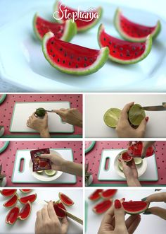 DIY cute little foods WATERMELON: fruit cake, rice flakes and gelatin Watermelon Birthday Parties, Fruit Birthday, 2nd Birthday Parties, Watermelon Crafts, Watermelon Baby, Party Snacks, Kids Party Themes, Birthday Party Decorations, Food Art