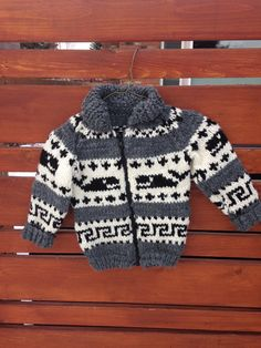 Children's Cowichan Sweater  Whale Zipper Front by WestCoastWools