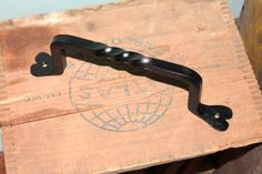 1 Hand Forged Iron 4 Door Handles with Twist by VinTin by VinTin, $14.00