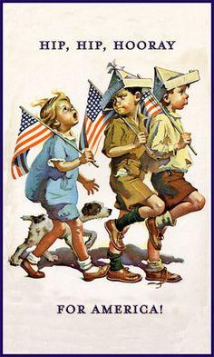 Hip Hip Hooray For America (I believe.a Norman Rockwell painting) I Love America, God Bless America, Images Vintage, Vintage Postcards, Vintage Ideas, Vintage Artwork, Vintage Decor, Vintage Style, American Pride
