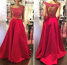 Two Pieces Prom Dress,Beading Prom Dress,O-Neck Prom Dress,Evening Dress