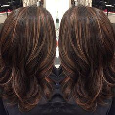 Dark brown hair with caramel highlights and midlength hair cut by Liz @salonink # saloninksd