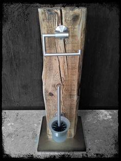 Klopapierhalter - WC Garnitur WC Set Bürste Halter Upcycling Klo - ein Designerstück von KonzeptFrei bei DaWanda