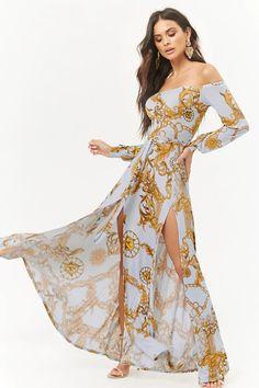 Product Name:Baroque Off-the-Shoulder Maxi Dress, Category:dress, Casual Dresses, Short Dresses, Boho Fashion, Womens Fashion, Fashion Clothes, Bohemian Hairstyles, Boho Girl, Forever 21 Dresses, I Dress