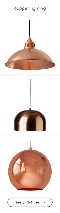 """""""copper lighting"""" by crystalliora ❤ liked on Polyvore featuring home, lighting, ceiling lights, industrial pendant lamp, industrial ceiling lights, copper ceiling lights, copper hanging lights, chain pendant light, copper and copper pendant lamp"""